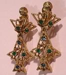 Napier Goldtone/green Rhinestone Clip Earring