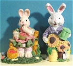 Two Resin Rabbits
