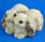 Miniature Stone Critters Lop Ear Bunny Rabbit Pair