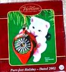 2002 Dated Purr-fect Holiday Flocked White Cat Kitten Cxor-111g Purrfect Holidays '02