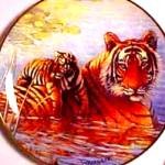 Royal Doulton Tigers Of The Wild Afternoon Swim Franklin Mint Tiger Cat W. Weberbauer