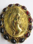 Garnet Gold Portrait Pin