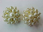 Gold-genuine Pearl Cluster Earrings