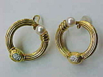 Diamond Pearl Hoop Earrings