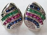 Diamond, Sapphire, Ruby And Emerald Earrings