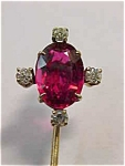 Diamond-garnet Doublet Stick Pin