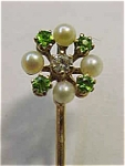 Diamond-pearl-dematoid Garnet Stick Pin