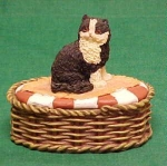 Basket Shaped Container With Cat On Lid