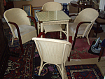 English Lloyd Loom Wicker Table And Chairs