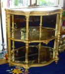 European Gold Gesso And Mirror Etegere