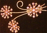 Three Pink Rhinestone Flowers