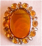 Amber Colored Glass Oval