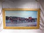Six Large Horses Pulling Red Oil Hauler/cartage