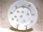 H & Co. Lt.blue W/gold Flowers Salad Plate