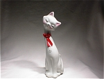 Sleek White Cat W/red Bow/gold Trim