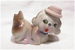 White & Brown Ceramic Dog W/ Tophat Japan