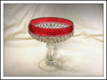 Indiana Glass Diamond Point Compote W/ruby Stain