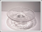 Beautiful Etched Glass Footed Candy Dish