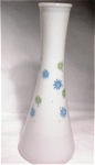 Milk Glass Bud Vase W/blue & Green Flowers