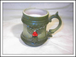 Holly Berry Green Lustreware Mug Japan