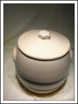 Rrpco Stoneware Cookie Jar W/blue Stripes