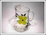 Vintage Glass Pitcher With Lime Flower