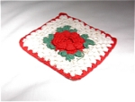 Vintage Hand Crocheted Red/white Potholder