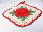 White Crocheted Potholder With Red Rose