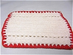 Crocheted Potholder-white With Red Trim