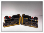 Japan Ceramic Bookends Train Locomotives