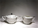 Lefton 25th Anniv Creamer & Cov Sugar #280n