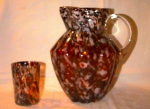 Spangle Glass, Art Glass Pitcher And Tumbler