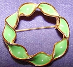 Hedison Enamel Circle Pin, Brooch, Signed