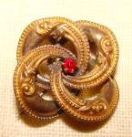 Victorian Gold Tone Ornate Love Knot Brooch