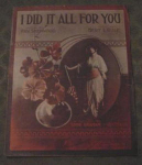 I Did It All For You Sheet Music W/ E. Graham