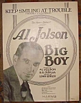 Al Jolson Sheet Music, Big Boy, Keep Smiling