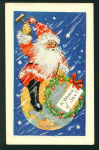 Vintage Santa Sitting On The World Postcard