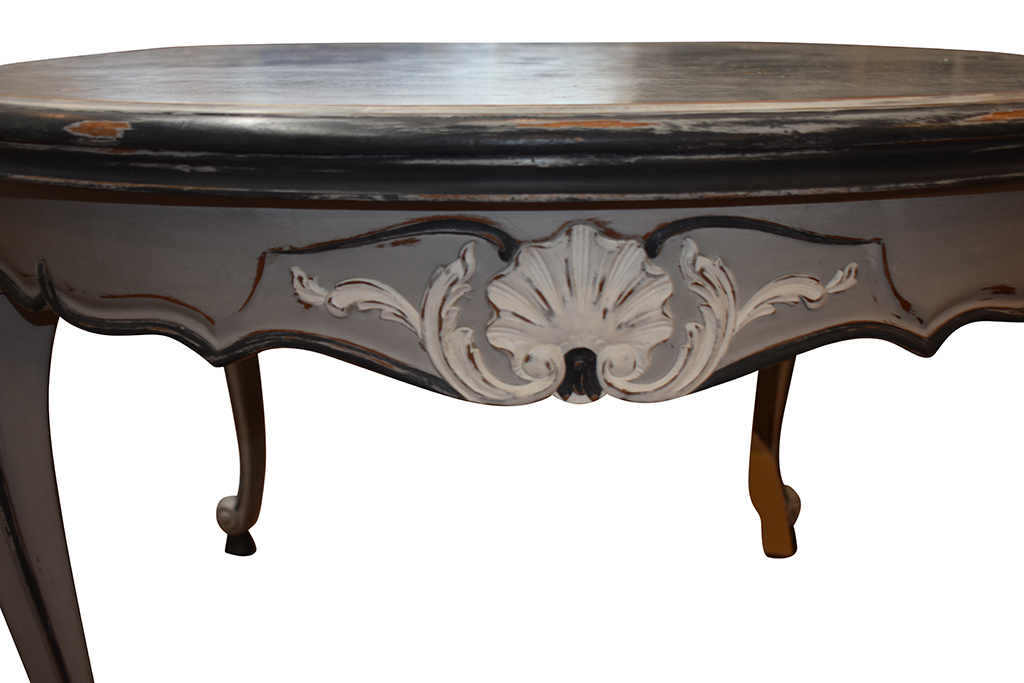 French Louis XV Style Dining Table, Two Pull-Out Leaves