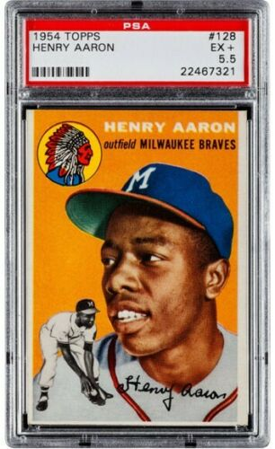 1954 Topps Hank Aaron Baseball Card Graded by PSA at a 5.5
