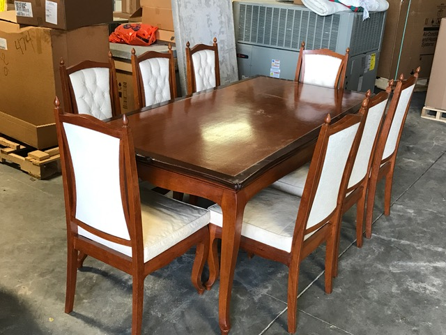 BOMBAY CARVED TEAK DINING TABLE AND CHAIRS