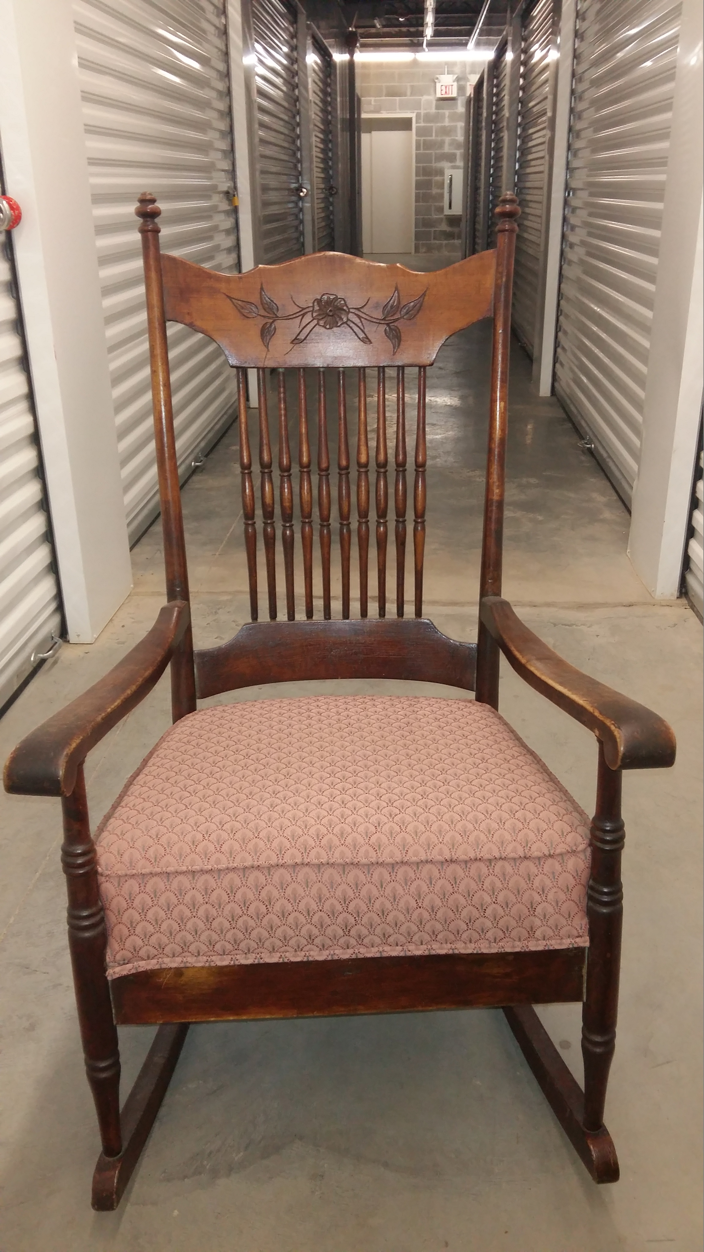 Rocking Chair Spindle Back Upholstered