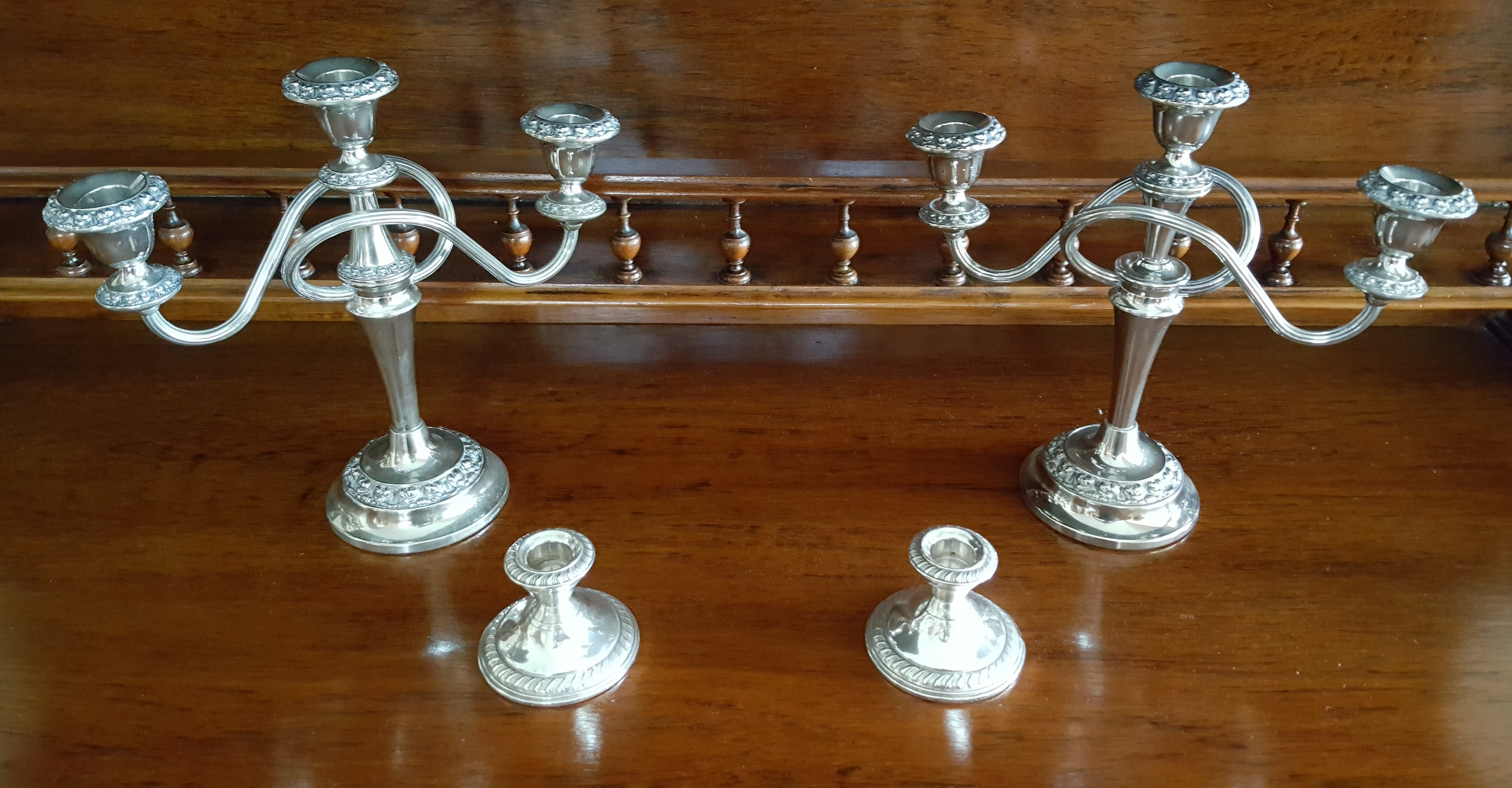 Antique Silver plated Candle Holder set