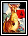 Perky Kangaroo for 4th Birthday Greeting, WWII Era Card
