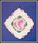 Vntg. Crocheted Raised Rose Potholder