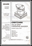 Sears Craftsman Palm Grip Sander Manual