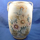 Beautiful hand painted Nippon gold floral tall vase.