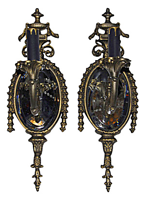 PAIR OF MIRROR BACK WALL SCONCES (Image1)