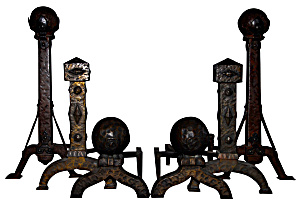 ANTIQUE FIREPLACE ANDIRONS (Image1)