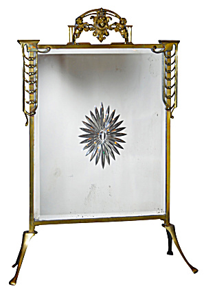 Brass With Mirror Firescreen Bevelled Glass