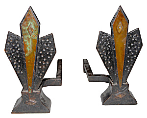 DECO ANDIRONS PAIR OF FIREPLACE ANDIRONS (Image1)